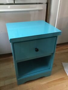 Blue imperfect single bedside table- available