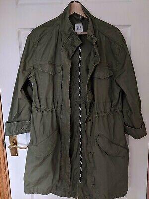 GAP Khaki green zip up lightweight parka coat, S, adjustable waist. Never Worn!