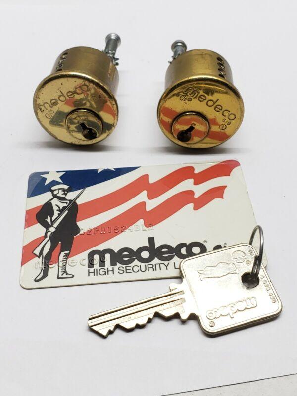 medeco patriot rim cylinders, set of 2, keyed alike, 1 key, 5 pin, locksmith