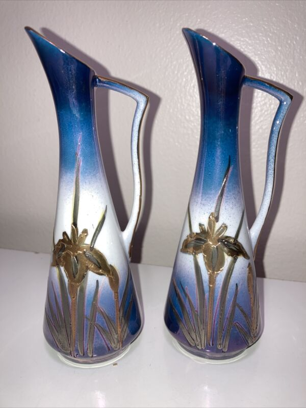 """Two Vtg AITO China Hand Painted 24 Kt Gold Japan Vases 5"""" 3/4 Tall Gold Design"""