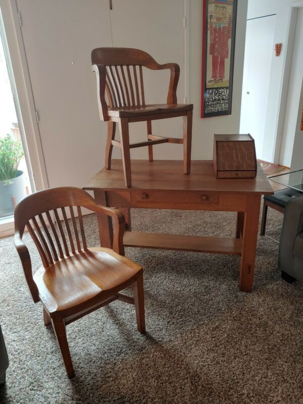 Antique Mission Oak Library Table With Two Chairs And Letter Box