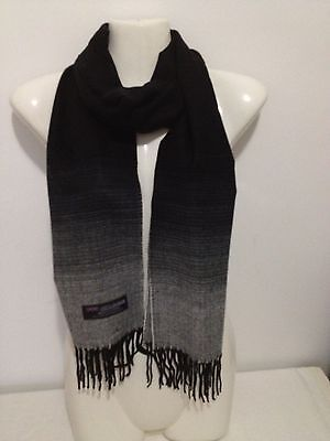 100% CASHMERE SCARF SOLID COLOR BLACK WHITE MADE IN SCOTLAND SUPER SOFT