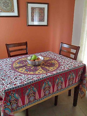 Peacock Tablecloth (Cotton Peacock Floral Tablecloth Rectangular Tapestry Bedspread Red 64x90)
