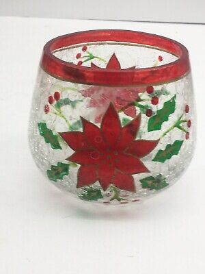 Yankee Candle Poinsettia Votive Holder Crackle Glass Tealight