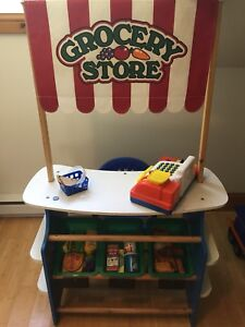 Lemonade stand and grocery stand