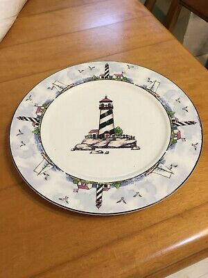Totally Today China Coastal Lighthouse Nautical Theme Dinner Plate 10.5 Inch - Nautical Themed Plates