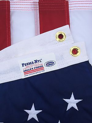 - 4x6 FT US American Flag Perma Nylon US Made Valley Forge Flag Embroidered & Sewn