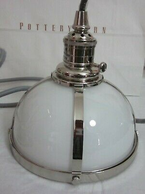 Pottery Barn Classic Industrial Milk Glass Cord Pendant Polished Nickel Small  (Classic Polished Nickel Chandelier)