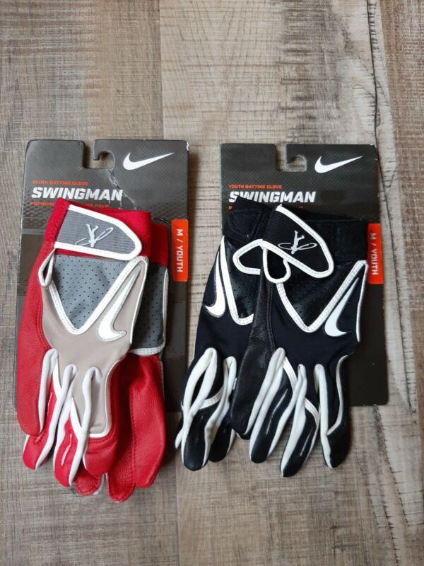 Nike Boys Youth Baseball Swingman Batting Gloves Size M Blue Black NEW Leather