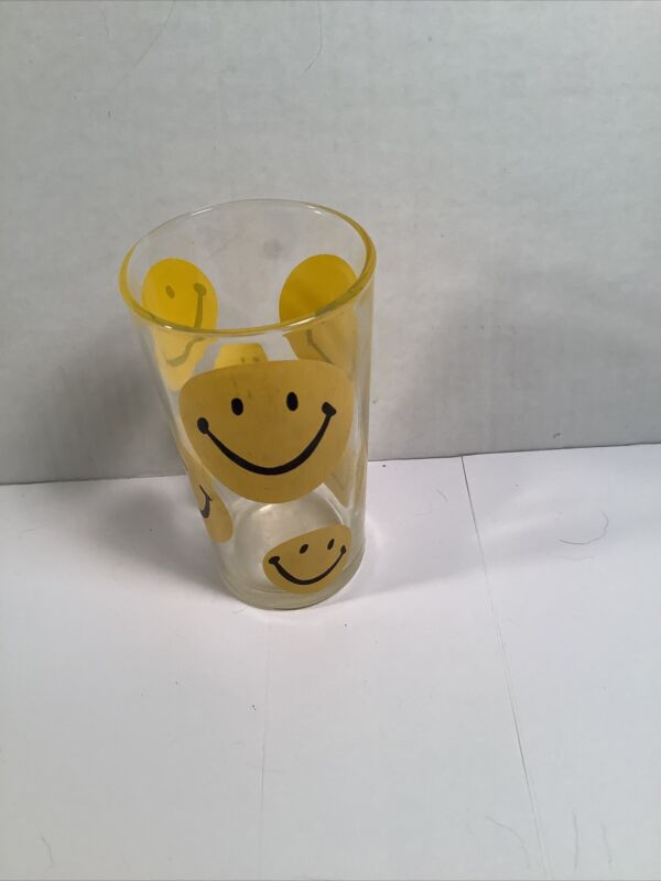 Vintage 1960's Smiley Happy Face Drinking Glass Yellow Happy Face