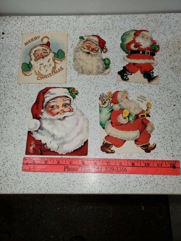 Vintage Santa Christmas Cards Lot of 5