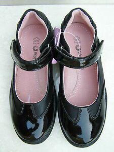 GIRLS LEATHER LINED BLACK NAVY SHINY PATENT FORMAL PUMPS SCHOOL SHOES SIZES 11-5