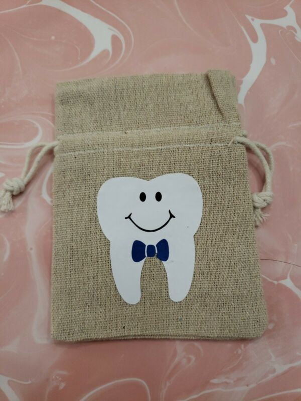 Tooth Fairy Drawstring Bag for Boys Blue Bowtie