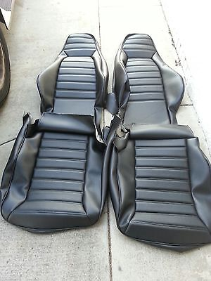 Upholstery Vinyl Kit - PORSCHE 911 912 SEAT KIT 77-84 NEW UPHOLSTERY BLACK GERMAN VINYL BEAUTIFUL