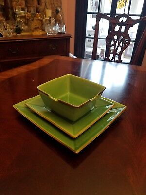 Asian Square Light Green Jade Pottery Barn Dinner Salad Plates Noodle Bowls