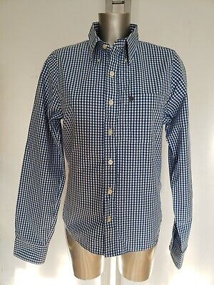 ABERCROMBIE & FITCH MUSCLE REGULAR MEN LONG SLEEVE BLUE WHITE CHECK SHIRT M 38