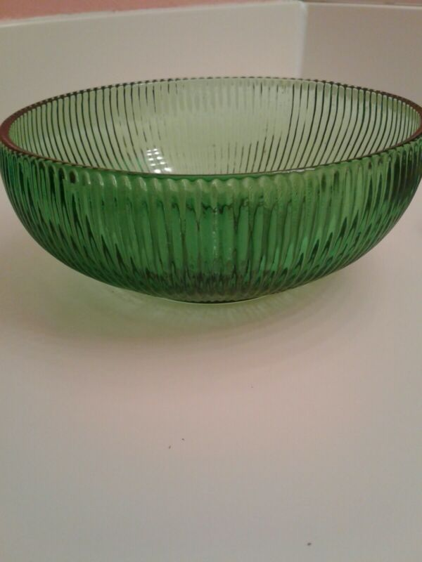 """E.O. Brody Co. Cleveland Depression Glass Green Ribbed 6 in"""" Dish /Bowl VINTAGE"""