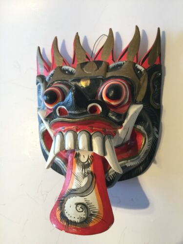 Vintage Wall Décor Collectible HandCarved from Solid Wood & Painted Chinese Mask