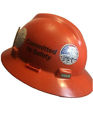 Msa V-guard Full Brim Hard Hat 4-point Ratchet Suspension Hi-viz Orange