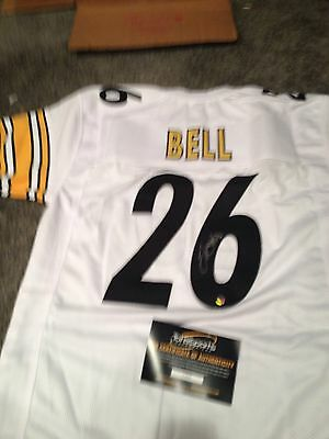 Le'Veon LeVeon Bell Pittsburgh Steelers Signed White Jersey TSE