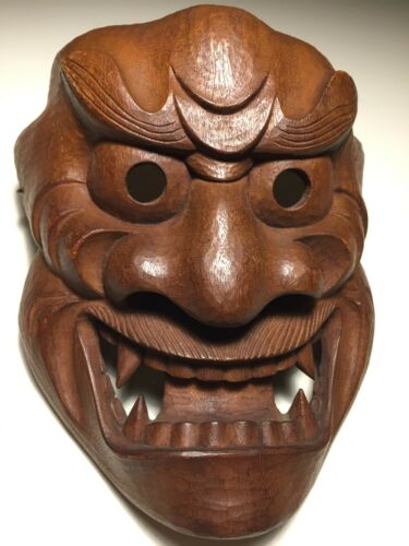 "Antique, c1963, Japanese Wooden Mask --SIGNED ""MITUYASU"" Fierce God Kijin-Kei"