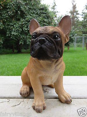 "FRENCH BULLDOG PUPPY DOG FIGURINE SITTING STATUE RESIN PET 7.75"" H CANINE"