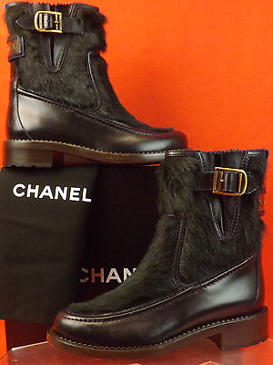 - NIB CHANEL NAVY BLUE LEATHER REAL FUR PLATED BELTED BUCKLE BOOTS 37.5 7 $2K