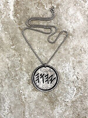 "PALEO HEBREW YHWH Necklace 2""Tooled Leather Hammered Metallic Finish"