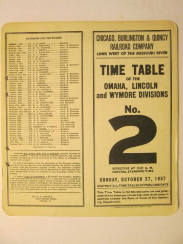 Chicago Burlington & Quincy Time Table 2 1957 Omaha Lincoln Wymore Divisions
