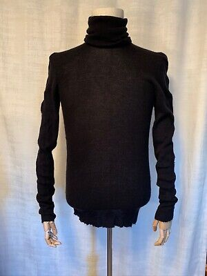 """Label Under Construction Black Cashmere High Neck """"mask"""" Sweater Fall 2009 Size"""