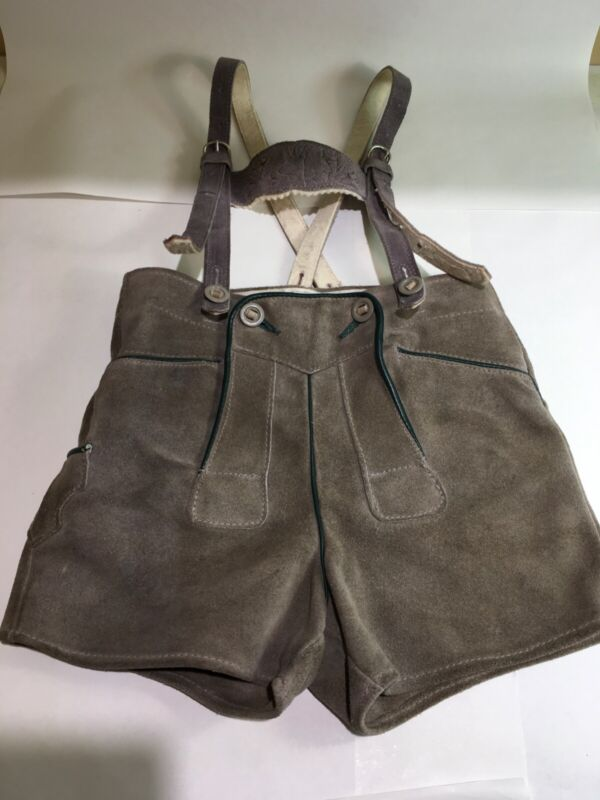 Vintage Leather Suede Lederhosen Gray Child Size 4 Shorts & Suspenders Bavaria