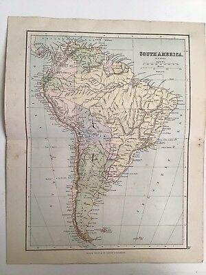 South America, 1881 Antique Map, Philips, Atlas, Original, Brazil, Argentina