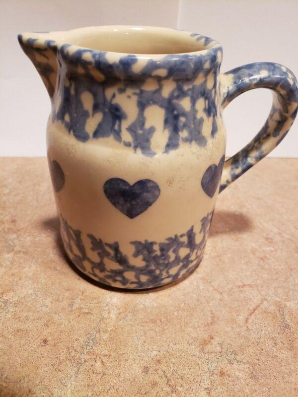 Workshops of Gerald E Henn Hearts Spongeware Pottery Creamer Pitcher