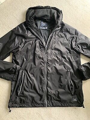 New Abercrombie & Fitch Rain Jacket With Zip And Pockets Black Medium