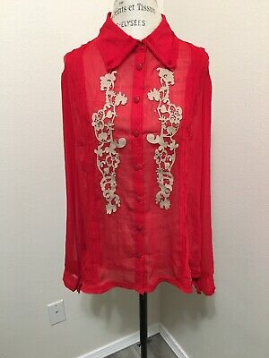 NWT Kaelyn Max II 1X Red Top Blouse Sheer 100% Silk Long Sleeve for sale  Anchorage