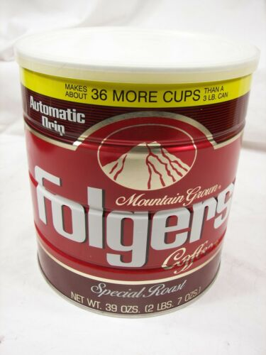 Vintage Folgers 39 oz 1984 Coffee Can Sealed with coffee  **L@@K*