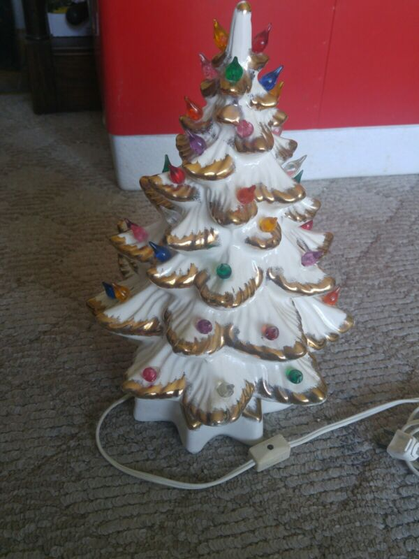 """Vintage White and Gold Ceramic Christmas Tree + Music Box 13.5"""" Tall Signed SF"""