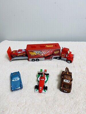 "Disney Pixar Cars 9"" Mack Truck Rust-eze With McQueen,mater,finn, And Francesco"