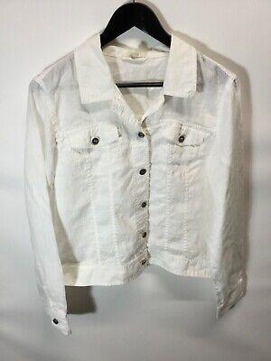 Eileen Fisher Womens White 100% Organic Linen Open Front Jacket Sz US Large