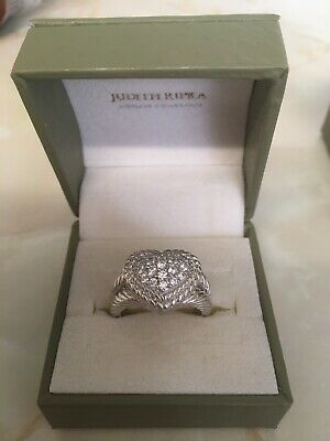 Designer Judith Ripka Silver 925 and Cubic Zirconia Heart Dress Ring Size R