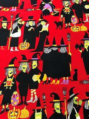 Alexander Henry 2015 Witch Way Witches Black Cats Pumpkins on Red Fabric BTHY - Henri Black Cat Halloween