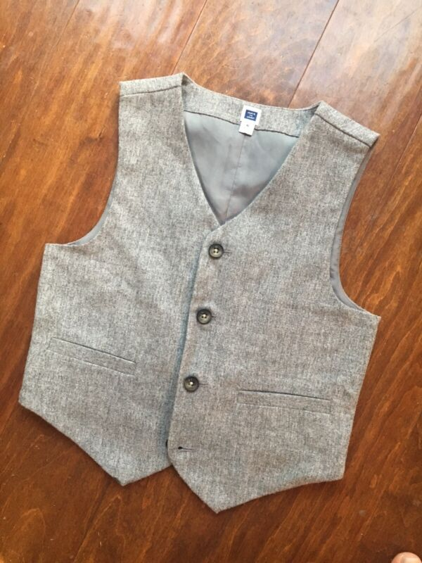 Janie And Jack Wool Blend Vest Boys Sz 6 Formal Button Front Gray Lined EUC