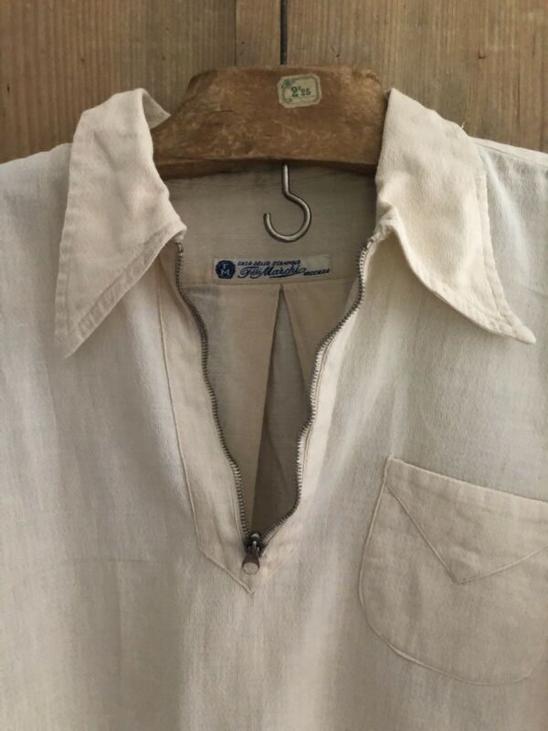 Vintage WORK WEAR shirt CREPE cotton ZIP c1950
