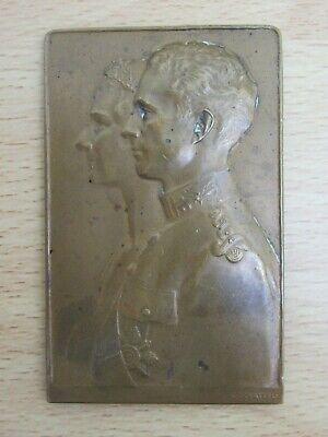 Vintage Bronze Medal, Belgian Prince Leopold & Astrid, Godefroid Devreese