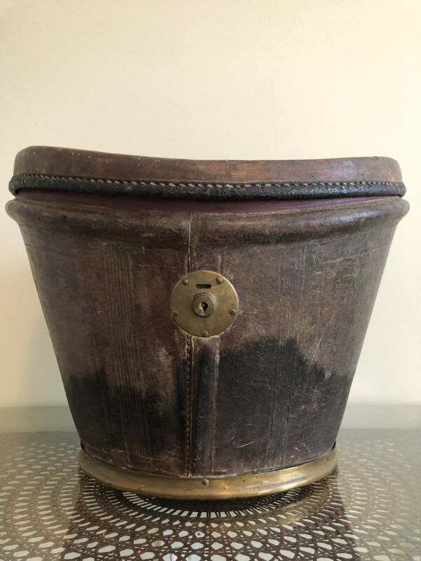 Antique Victorian Leather Top Hat Box Train Case Travel