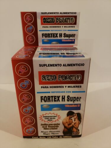 """FORTEX H SUPER/SEXO PRONTO""""Ayuda En El Desempeño Físico & Sexual""""100 Tabs 500 mg"""