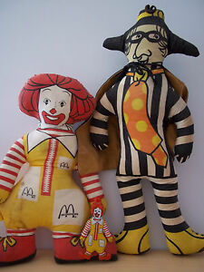 vintage ronald mcdonald and hamburglar character