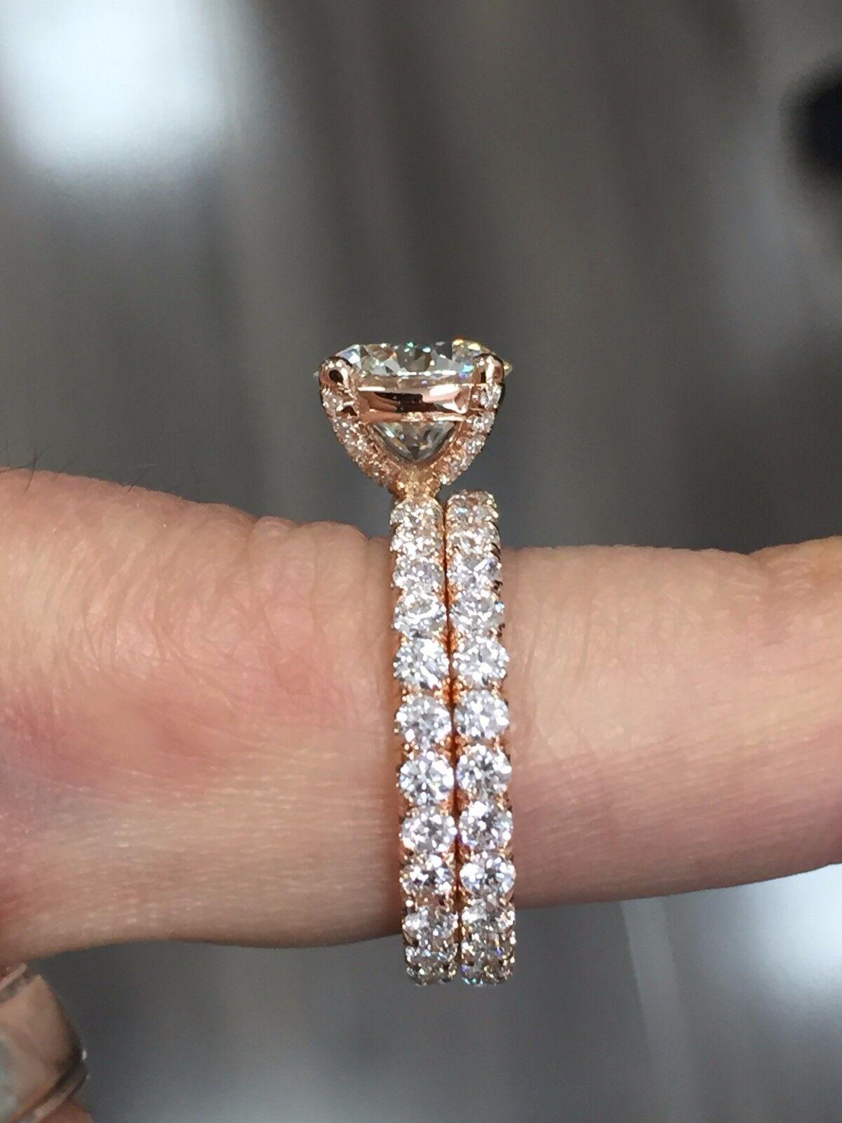 1.80ctw Natural Round Cut Pave Diamond Wedding Bridal Set - GIA Certified 2
