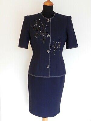 Vintage Jean Louis Scherrer Women's Navy Skirt Suit FR 38 /40 UK 8-10