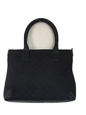 Vtg GUCCI Black Monogram Signature GG Canvas Leather Tote Bag Purse # 002-1119